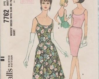 McCalls 7762 / Vintage 60s Sewing Pattern / Vintage Evening Dress / Size 12 Bust 32