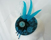Small Black & Turquoise Blue Lace Fascinator Mini Hat Goose Feathers and Pearls - Made To Order