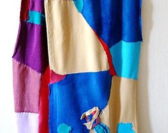 Hand stitched Patchwork art scarf fleece asymmetrical wrap Unique Wearable Art Scarf