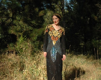 Size Medium... Vintage Sequined Gown... Ultimate Glam Goddess... Erte Meets Bowie... All Silk