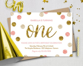 Pink and Gold First Birthday Invitation /  Pink Gold Glitter ONE / PRINTABLE INVITATION /  1948
