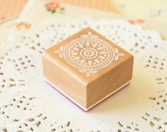 CS-04 WOOD Square STAMP lace doily pattern rubber stamp