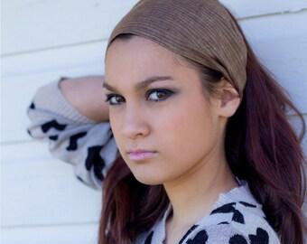 Linen Bandana Brown Pinstripe Hippie Headscarves Linen Head Wrap Headband Plain Head Scarfs Linen Head Scarf Business Casual (#4708) S M L X