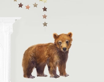Bear Wall Decal, Fabric Wall Sticker ( Not Vinyl, PVC free )