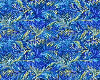 Blue Yellow fabric 1/2 yd Botanica III Color Principle Bookplate quilting sewing maker Henry Glass Royal Blue Marbled half yard 8416-77