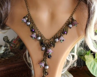 Y style necklace with Bronze leaf charms, Pearls, Purple lucite flowers - Faerie fashion Magical jewelry
