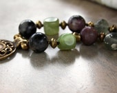 Antique Chinese Mala Necklace Very Old Serpentine Beads Central China Green and Purple Stones Ethnic Asian Jewelry