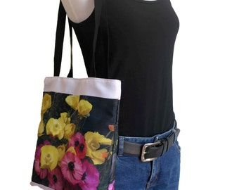 Floral Shopping Bag - ON SALE - 40% OFF - Pink and Yellow flowers