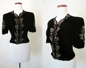 Scrumptious 1940's Black Velvet and Sequin Cocktail Party Blouse Old Hollywood Glamour Starlet Pinup Girl Rockabilly Size-Medium