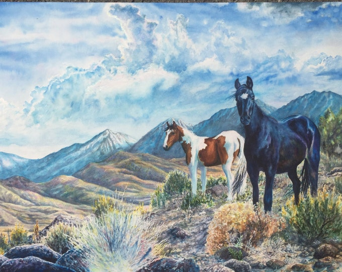 Wild Mustangs Original Fine Art, professionally Framed, West Sierra Nevada Art Watercolor Painting by artist Christie Marie Elder