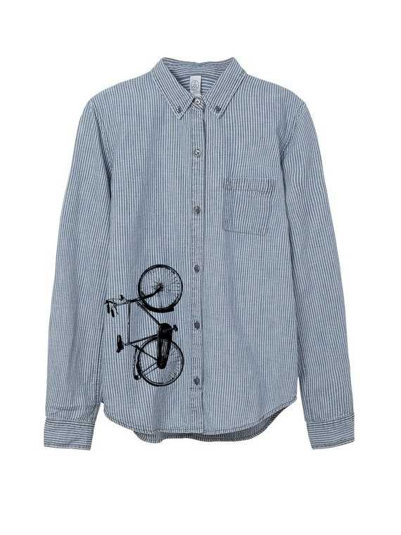 Railroad shirt bike shirt mens stripe button up work for Blue button up work shirt