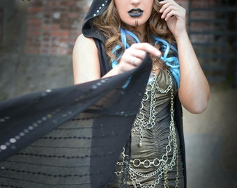 "SALE! The ""Sparkle Duster"" Long Sweater Vest with Hood in Black Onyx Sequin Knit by Opal Moon Designs (size M-XL)"