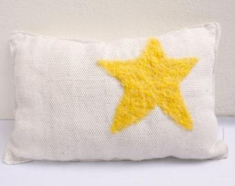 yellow star handwoven pillow