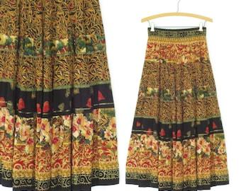 Vintage Rayon Skirt * 90s Maxi Skirt * Sweeping Skirt * S / M