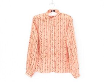Vintage Floral Blouse * 1970s Flower Print Shirt * 70s Blouse * Medium / Large