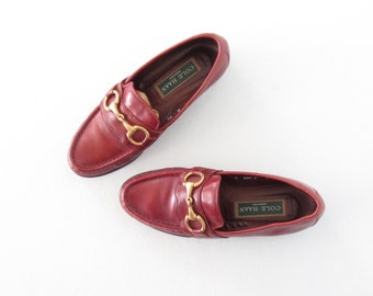 Vintage Loafers * Harness Loafers * Wine Leather Shoes * size 6 /