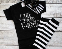 Little Miss Perfect- Cute Baby girl outfit- Headband set- Go home outfit girl- Headband outfit- Outfit for girls- trendy baby shirts- baby