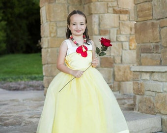 Beauty and the Beast Costume: yellow Belle tutu dress, red roses, princess dinner, parks trip, halloween, adjustable, birthday party