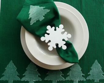 Green and White Christmas Tree Cloth Napkins - Set of 4