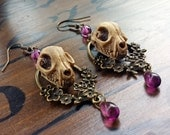 Cat Skull Earrings in Bronze Floral - strega witch jewelry, goth earrings, dark anatomical occult jewelry, memento mori