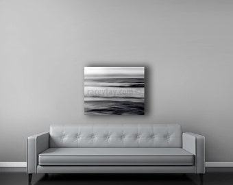 Gray Ocean Photography on Canvas, Large Abstract Wall Art Canvas, Beach Decor, Modern Black and White Canvas Art