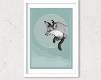 Fox Moon, Art Poster, Starry Sky Universe Turquoise Illustration