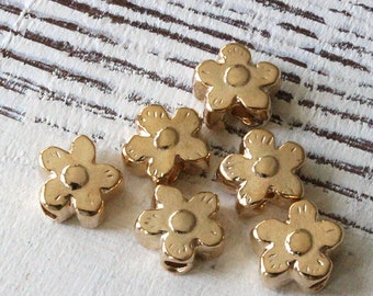 13mm Mykonos Gold Daisy Beads - Jewelry Making Supply - Large Hole - Made In Greece - Choose Amount