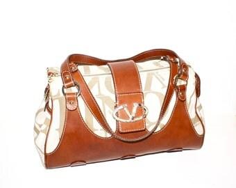 VALENTINO GARVANI Vintage Handbag Logo Canvas Brown Leather Tote  - AUTHENTIC -