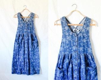 c1990's Floral Denim Oversized Jumper Dress