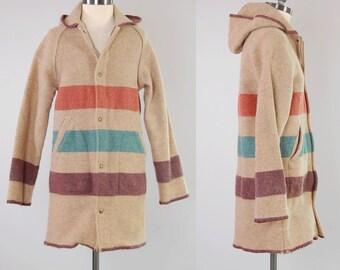 Vintage 60s 70s WOOLRICH striped wool blanket coat / Hudson Bay blanket coat / Hooded jacket