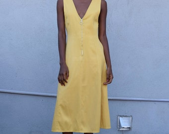 Vintage Lemon Yellow 1990's Zip Plunging V Tailored Sleeveless Circle Sun Dress S/M