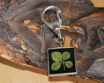Real Four Leaf Clover Shamrock Key Chain for Valentine's Day, St. Patrick's Day, Christmas, or any day for Good Luck