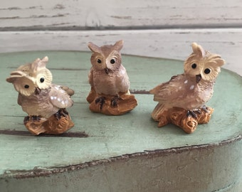 Mini Owl Figurines, 3 Piece Set, Fairy Garden Accessory, Miniature Garden Decor, Topper, Shelf Sitter, Mini Owls