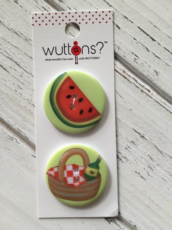 Watermelon and Wine Picnic Buttons Wuttons Collection by Button Lovers Blumenthal Lansing Carded Set