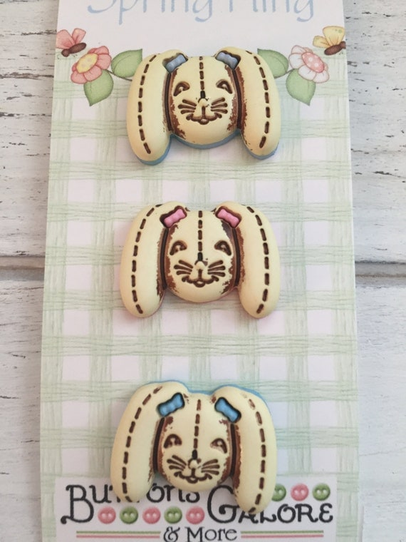Bunny Buttons Spring Fling Collection By Buttons Galore and More Carded Set of 3