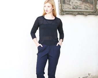 Navy blue pleated pants / tapered pants / mid rise cropped trousers - 50% off