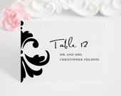 Tented Place Cards or Seating Cards for Your Wedding, Damask Accent Design Deposit