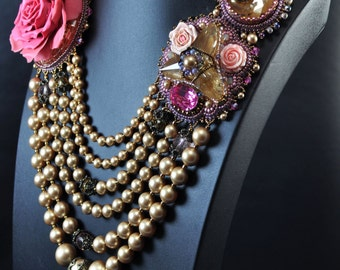 Coco, Bead Embroidered Statement Necklace, Chanel Style Necklace, Rose necklace,