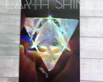 Crystal art print 4x6, merkaba rainbow, chakras, heart chakra