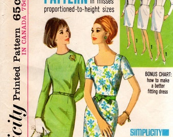 1960s Sloper Basic Dress Pattern - Vintage Simplicity 5994 - Bust 36
