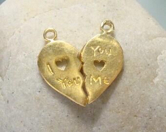 Handmade LOVE charm, 18x9mm I love you charm, you love me charm, 24K gold vermeil Sterling Silver Love pendant charm, PC-0149