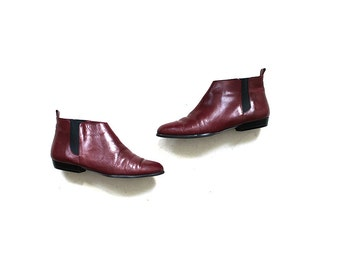 Vintage Chelsea Boots 8 / Oxblood Leather Boots / Leather Booties
