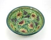 Ceramic Serving Bowl - Green Floral Porcelain Dish for Fruit, Salads or Cereal - Flowers - OOAK