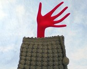 Vintage 30s Dark Taupe Crocheted Corde Clutch Bag Handbag, Ball Tassel Pull, Zip Top