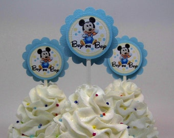 Baby Mickey Mouse Baby Shower Cupcake Toppers Blue and Yellow Set of 12