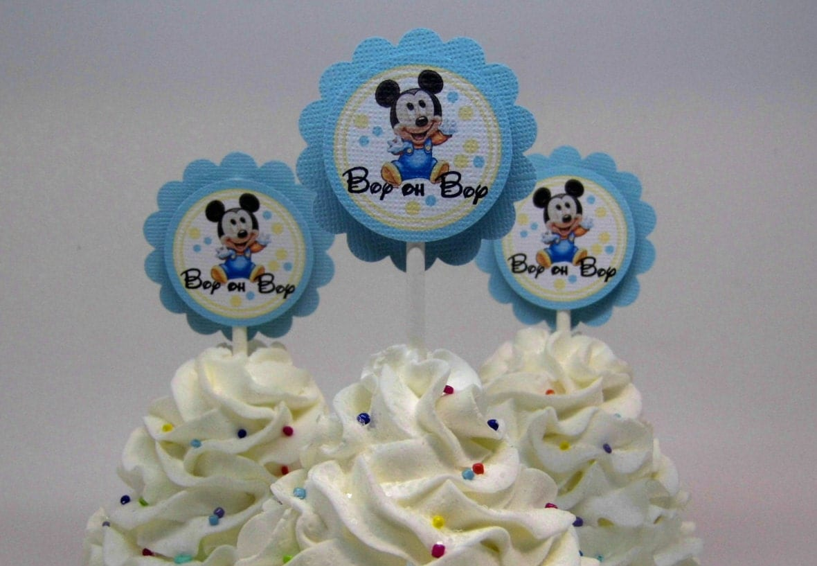 baby mickey mouse baby shower cupcake toppers blue and yellow