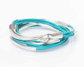 Wrap Bracelet, Turquoise Genuine Leather Bracelet, Leather Wrap, Bangle Bracelet, Cuff Bracelet, Tube Bangle, Half Hook Clasp, Silver Tube
