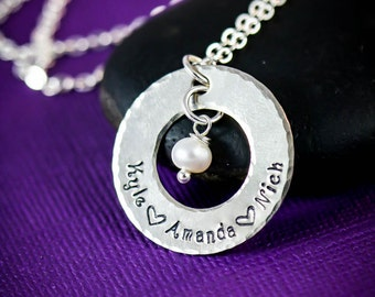 Personalized Jewelry - Mothers Necklace - Birthday Gift - Gift for Mom - Gift for Her-Kid Name Necklace-Family Handstamped Washer