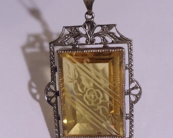 Antique Art Deco Sterling Silver Filigree Pendant w/etched Citrine