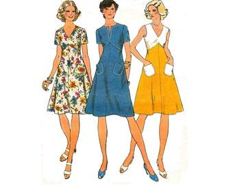 70s Boho High Waisted Summer Dress Pattern Simplicity 6391 Split or V neckline Vintage Sewing Pattern Size 12 Bust 34 inches